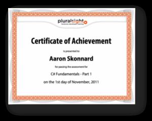 Pluralsight Certificate