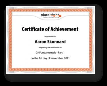 Plurarsight Certificate