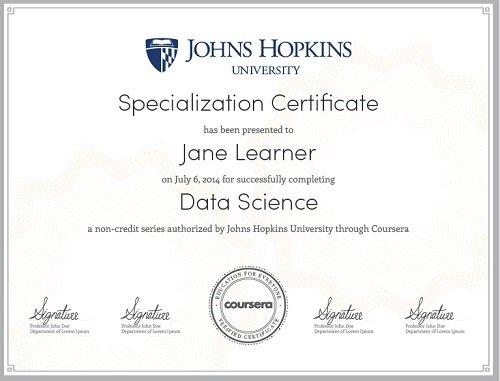 Courser Specialization certificate