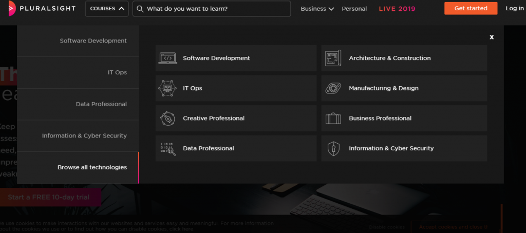 Pluralsight categories