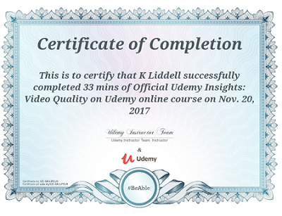 sample udemy certificate