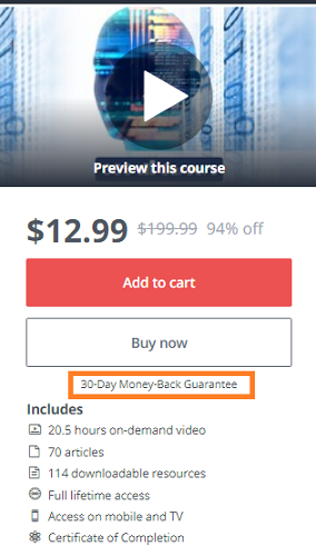 Udemy Money Back