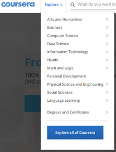 coursera courses broad categories