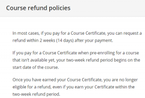 Coursera refund policies