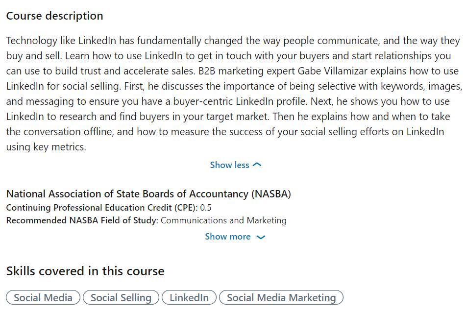 LinkedIn Learning Course Description