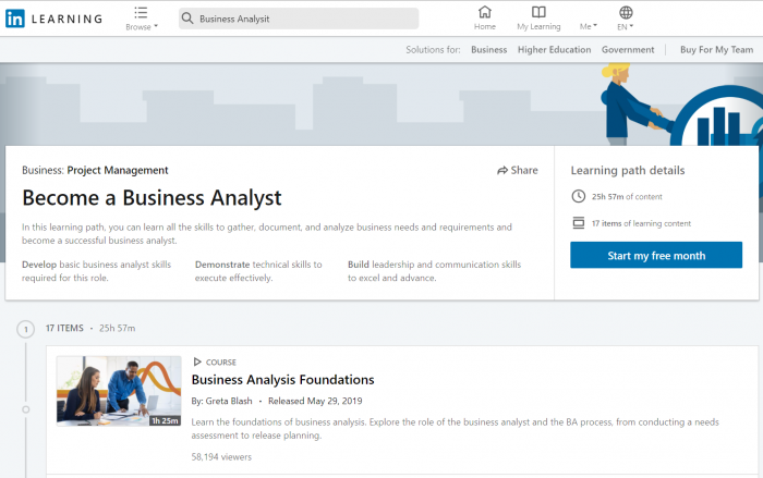 Lynda-Linkedin-Learning-Path-for-becoming-a-Business-Analyst