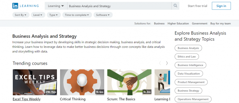 linkedin-learning-business-analytics-and-strategy-results