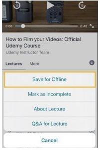 udamy ios app save for offline